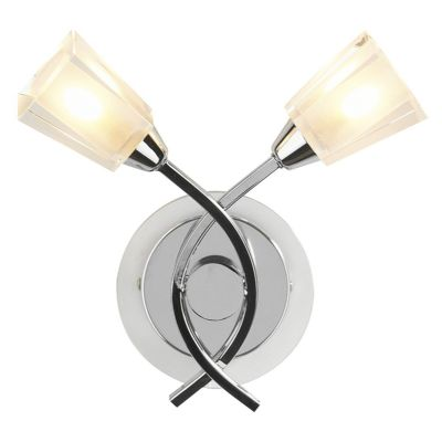 Austin Double Wall Light in Polished Chrome with Cler and Frosted Glass Shades - där AUS0950